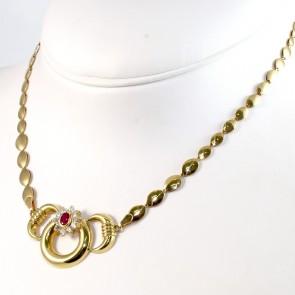 Collana collier catena spole oro con inserto rigido centrale e margherita di zirconi e rubino di sintesi- 42 cm; 13,8 gr