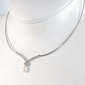 collana/collier oro,  perla - 7 mm - e zirconi - 44 cm; 7.5 gr