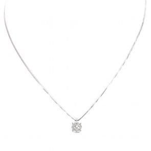 Ciondolo punto luce margherita circolare oro e diamanti - 0,36 ct; 3,7 gr