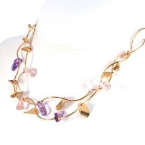 Collana collier doppia onda oro con quarzi viola e rosa sintetici e foglie oro - 40 cm + 3 cm; 25.22 gr