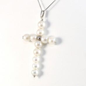 Ciondolo croce oro e  perle -6 cm x 3.3 cm
