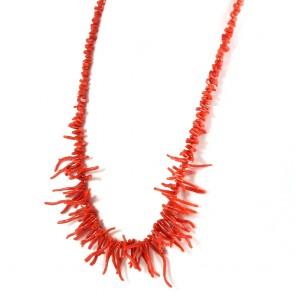 Collana ramage di corallo rosso e argento - 57 gr; 63 cm