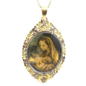Ciondolo dipinto Vergine e Bambino, antico