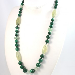 Collana, malachite e prinite - 70 cm; 135 gr