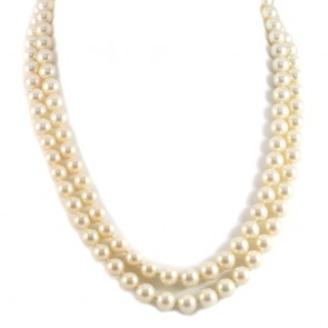 Collana in stile doppio filo perle sintetiche