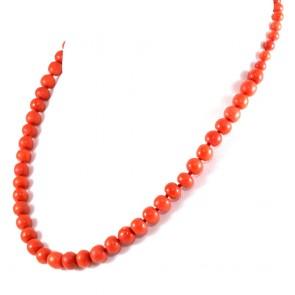 Collana di corallo rosso a scalare e oro - 33 gr; 48 cm