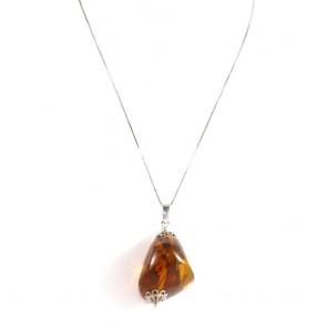 Ciondolo argento e maxi sasso ambra - 5.8 x 3 cm - 14.5 gr