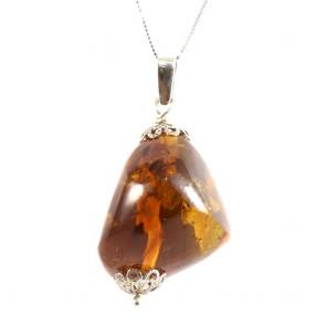 Ciondolo argento e maxi sasso ambra