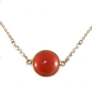 Collana oro con cabochon centrale di corallo rosso - 3.5 gr; 40 cm