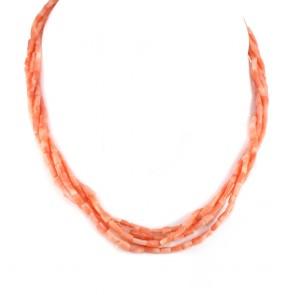 Collana a 4 fili di corallo rosa e oro