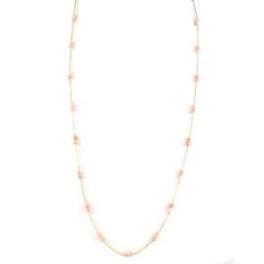 Collana lunga catena d'oro e corallo rosa