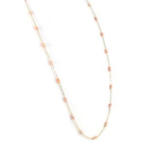 Collana lunga catena d'oro e corallo rosa - 10 gr; 75 cm