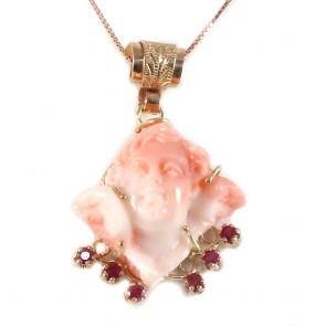 Ciondolo artistico in stile oro, angelo di corallo rosa, e rubini