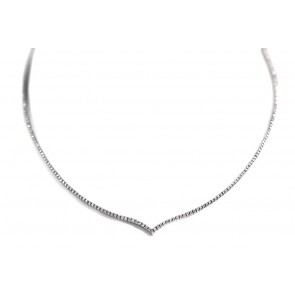 Collana girocollo tennis a V oro e diamanti - 1,73 ct