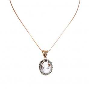Ciondolo artistico in stile oro, cammeo, e diamanti - 0.25 ct; 4.7 gr
