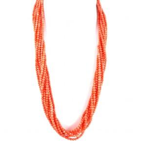 Collana lunga, torchon a 8 fili di corallo rosa e argento