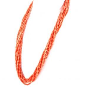 Collana lunga, torchon a 8 fili di corallo rosa e argento - 164 gr; 73 cm