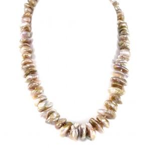Collana girocollo di perle keishi baroccate