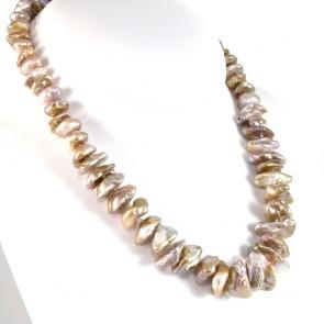 Collana girocollo di perle keishi baroccate - 9-20 mm- e argento - 51 cm; 127.3 gr