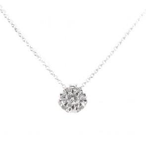 Ciondolo punto luce  fiore circolare oro e diamanti - 0.35 ct; 2.9 gr