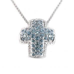 Ciondolo Croce oro, topazi azzurri e diamanti -0.36 ct; 13.3 gr