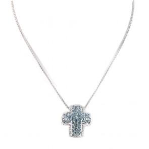 Ciondolo Croce oro, topazi azzurri e diamanti