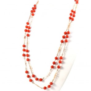 Collana lunga catena d'oro e corallo di bambù - 58.7 gr; 150 cm