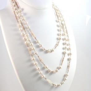 Collana lunga catena d'oro e perle - 96.9 gr; 190 cm