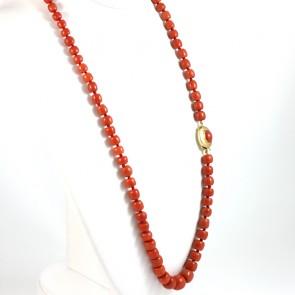 Collana di corallo rosso, barilotti a scalare e oro - 93.9 gr; 80 cm