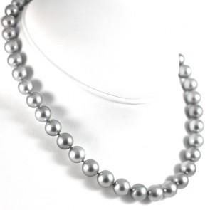 Collana girocollo perle Tahiti grey, oro e diamanti