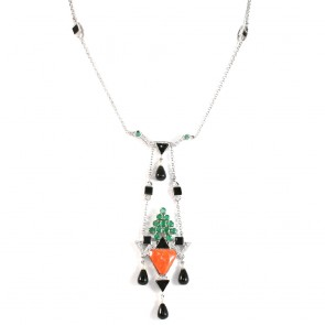 Collana/Ciondolo oro, diamanti - 1.35 ct - smeraldi - 3.10 ct - corallo e onice. 43 cm + pendente 10 cm. 22.8 gr