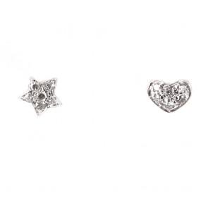 Parure (Ciondolo luna e Orecchini  cuore e stella) oro e diamanti - 0.08-0.10 ct; 2.8 gr
