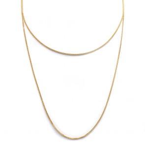 Collana lunga micro grumette  argento dorato - 90 cm; 4.8 gr