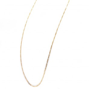 Collana lunga maglia 5+1,  argento dorato - 80 cm; 11.5 gr