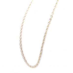 Collana lunga maglie ovali,  argento dorato - 80 cm; 21.8 gr