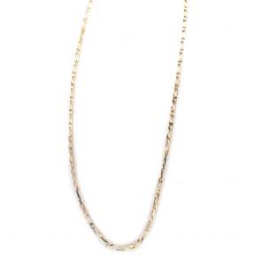 Collana lunga maglia mossa 1+1,  argento dorato - 80 cm; 35.7 gr