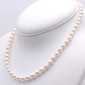 Collana da 50 cm di perle giapponesi - 7.5-8 mm- e oro; 39.5 gr