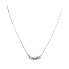 Collana collier oro con inserto centrale di diamanti -0.25-0.30 ct - 46 cm; 5 gr