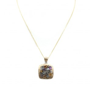 Ciondolo maxi quadro in stile, oro, quarzi multicolor e diamanti - 0.05 ct; 8.4 gr.