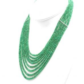 Collana multifilo smeraldo - 270 ct- e oro; 60 gr