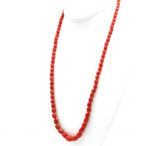 Collana di corallo rosso moro, barilotti a scalare e oro - 51.3 gr; 73.5 cm