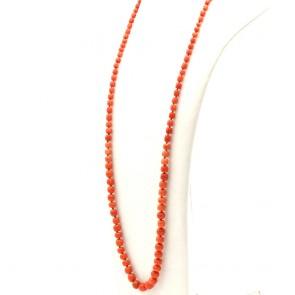 Collana antica di corallo rosso, barilotti irregolari a scalare e oro - 51.3 gr; 80 cm