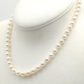 Collana da 46 cm di perle giapponesi - 7.5-8 mm- e oro; 38 gr
