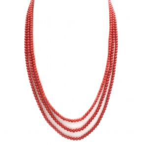 Collana 3 fili di corallo rosso moro, microboulle