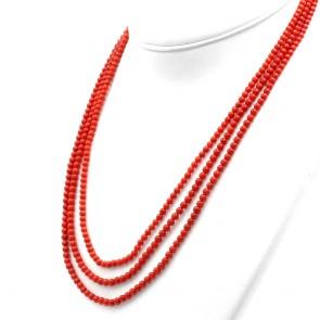 Collana 3 fili di corallo rosso moro, microboulle 3-4 mm - 44 gr; 60 cm