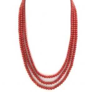 Collana 3 fili di corallo rosso moro