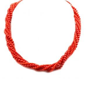 Collana torchon a 6 fili di corallo rosso moro