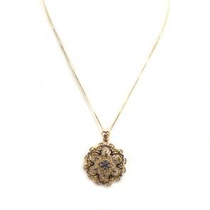Ciondolo/spilla in stile oro traforato, smalti blu con zaffiri -0.30-0.35 ct - 9.5 gr; 4 cm
