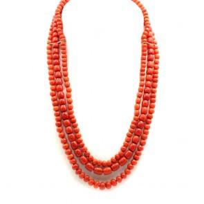 Collana 3 fili di corallo rosso, tagli vari 6-10 mm