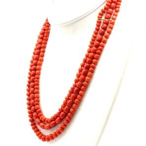 Collana 3 fili di corallo rosso, tagli vari 6-10 mm - 150.4 gr; 60 cm